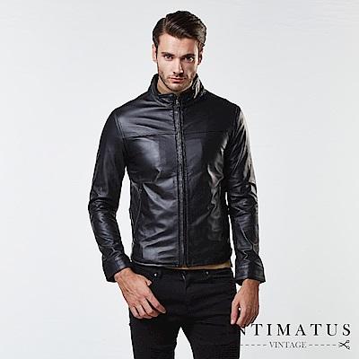 INTIMATUS 真皮 金仕曼紳士血統立領圓弧下擺設計小羊皮皮衣 經典黑