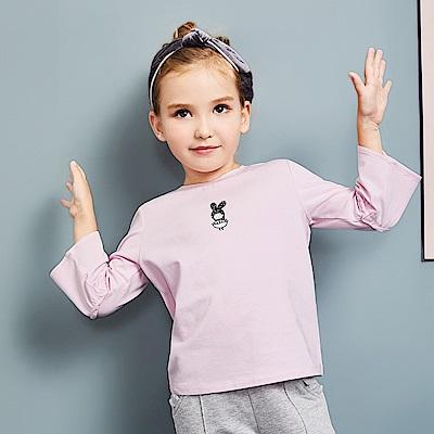 Balabala巴拉巴拉-小耳朵圖案拼接喇叭袖T恤-女(2色)