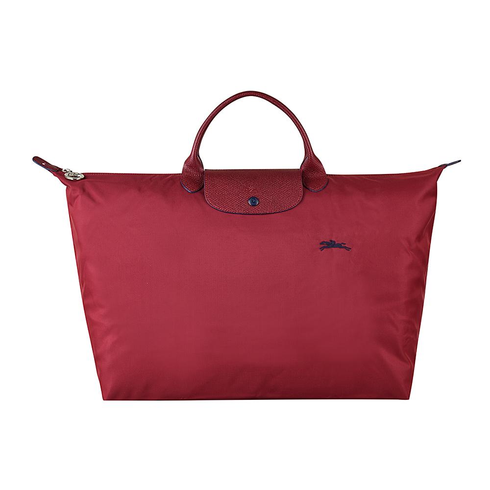 LONGCHAMP COLLECTION系列刺繡LOGO摺疊短把手提包(大/石榴紅x藍) @ Y!購物