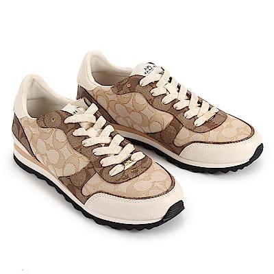 COACH 經典緹花織紋拼接防水皮革復古慢跑鞋(7.5號/女款)-咖啡色/米色