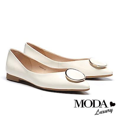 低跟鞋 MODA Luxury 日常亮面圓形飾釦全真皮尖頭低跟鞋-白