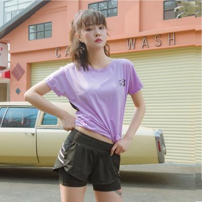 狐狸姬,M-2L賈斯運動三件套瑜珈路跑運動-多色(短袖+奶+短褲)