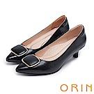 ORIN 典雅氣質 牛皮金屬方型飾釦尖頭高跟鞋-黑色