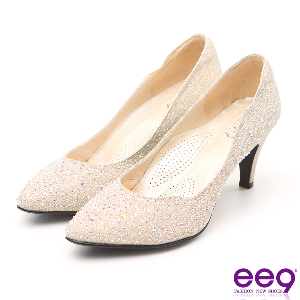 ee9 MIT經典手工 璀璨迷人鑲嵌閃耀亮鑽高跟鞋 粉米色