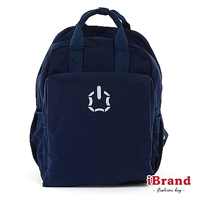 iBrand後背包 簡約素色輕旅行加寬好收納手提後背包-深藍色