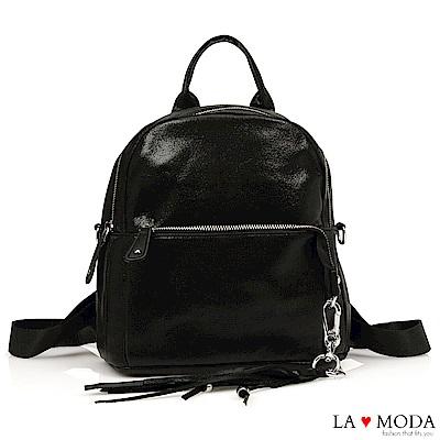 La Moda 時尚前鋒金屬色質感面料大容量肩背斜背後背包(黑)