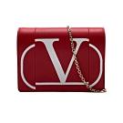 VALENTINO 品牌logo牛皮金鍊斜背包(紅)