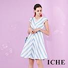 ICHE 衣哲 時尚3D蕾絲拼接條紋印花修身設計傘擺禮服洋裝-藍