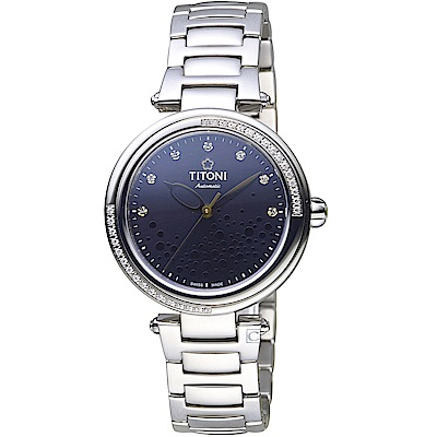 TITONI 炫美系列綺麗水珠時尚腕錶(23977S-DB-509)