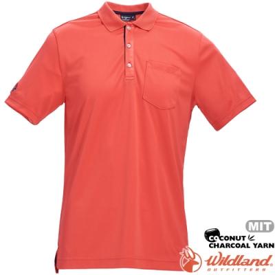 Wildland 荒野 0A71652-84橘色 男椰炭紗YOKE領抗菌衣