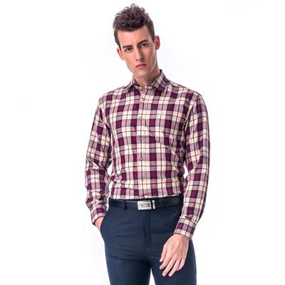 【金安德森】紅色經典大格紋窄版長袖襯衫