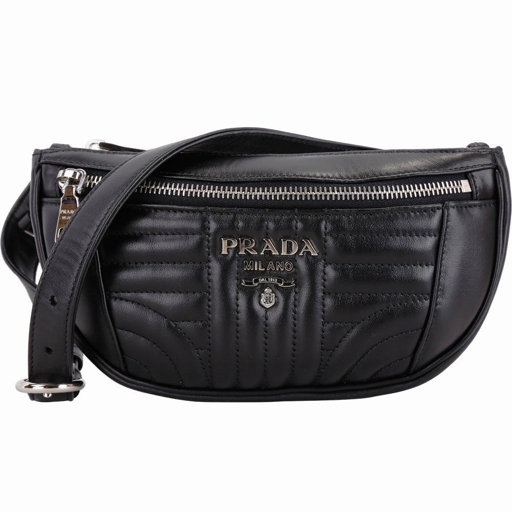 (無卡分期12期)PRADA Diagramme 絎縫小牛皮胸肩/腰包(黑色)