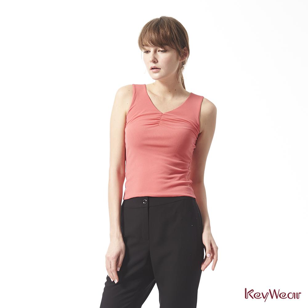 KeyWear奇威名品     彈性素面百搭無袖背心-粉紅色