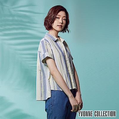 YVONNE 直條紋短袖襯衫-黃
