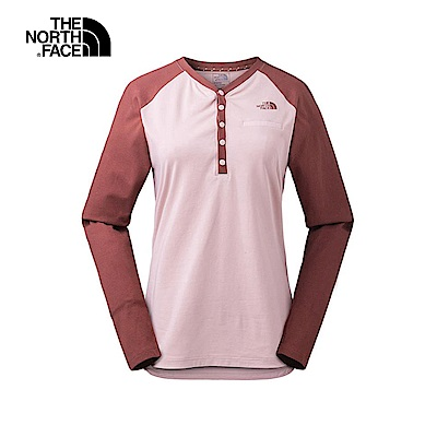 The North Face北面女款紅色吸濕透氣長袖T恤|3L7C3YM