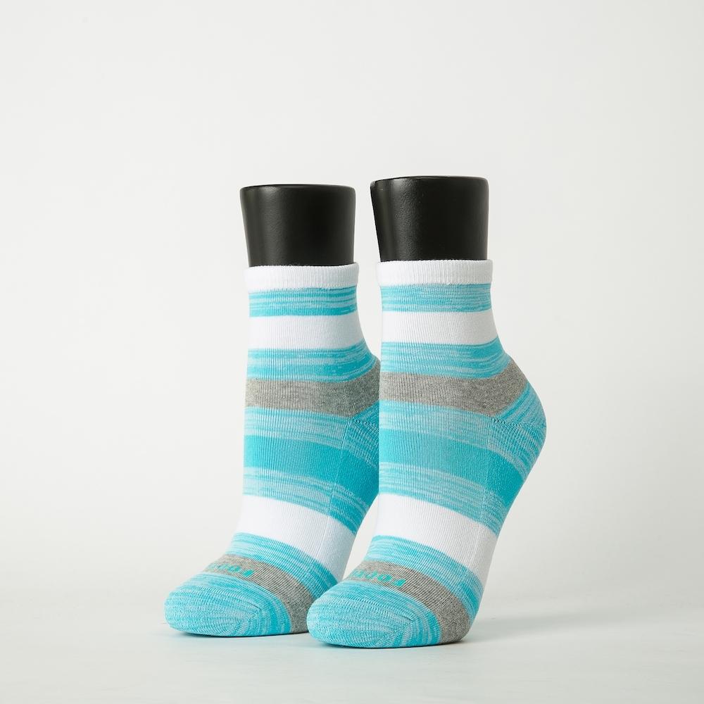 Footer除臭襪-條紋甜心運動氣墊襪-六雙入(黑*2+淺藍*2+灰紫*2)