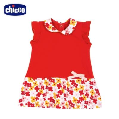 Chicco- TO BE BG-繽紛花朵拼接有領洋裝