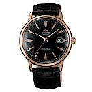 ORIENT  DATEⅡ 圓滿時刻手動上鍊機械腕錶-黑面玫金框x40.5mm