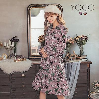 東京著衣-yoco 亮眼氣質印花綁帶雪紡長袖洋裝-S.M.L(共二色)