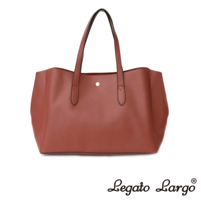 Legato Largo 驚異的輕量化 小法式輕便簡約 流線型剪裁手提袋 紅棕色