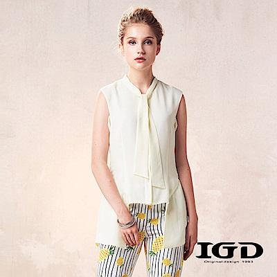 IGD英格麗 不規則剪裁圍巾領造型上衣-黃