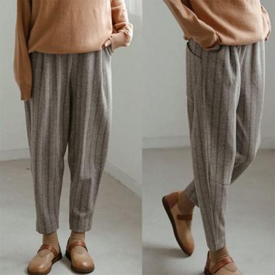 休閒褲-綿羊毛灰條紋蘿蔔直筒寬鬆-設計所在