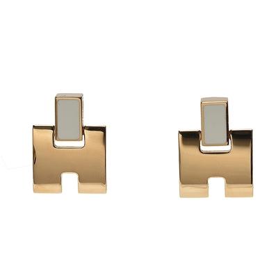 HERMES 經典Eileen系列弧面寬H LOGO琺瑯針式耳環(米白/金)