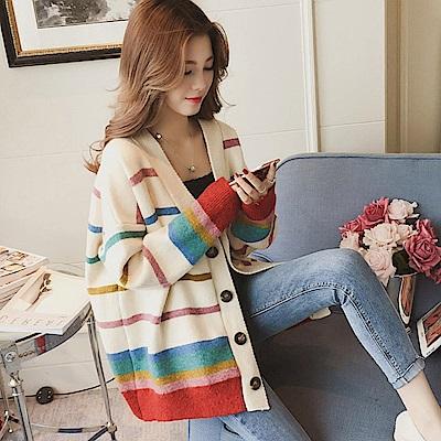 La Belleza彩色條紋彩虹配色慵懒風開釦針織厚毛料外套