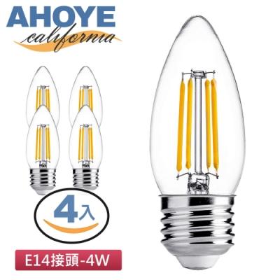 AHOYE LED愛迪生蠟燭燈泡 黃光 4入 (E14接頭)
