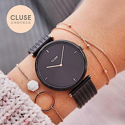 CLUSE TRIOMPHE 凱旋門系列腕錶 (玫瑰金框/黑錶面/霧黑凱旋錶帶)