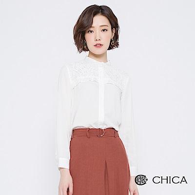 CHICA 古典美學拼接蕾絲小立領襯衫(2色)