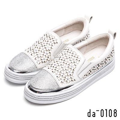 da0108 獨特美學-花雕水鑽飾真皮厚底休閒鞋-白