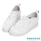 Robinlo 法式浪漫花瓣牛皮內增高休閒鞋 白色