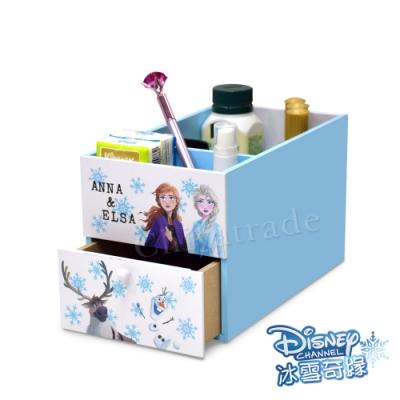 迪士尼Disney 冰雪奇緣 艾莎&安娜 單抽屜筆筒 前後分隔盒 桌上收納