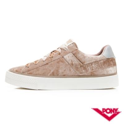 【PONY】TOP STA系列絨毛鞋面低筒百搭復古帆布鞋 女鞋 卡其
