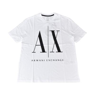 A│X Armani Exchange經典壓印字母LOGO造型純棉短袖T恤(XS/S/M/L/白x黑字)