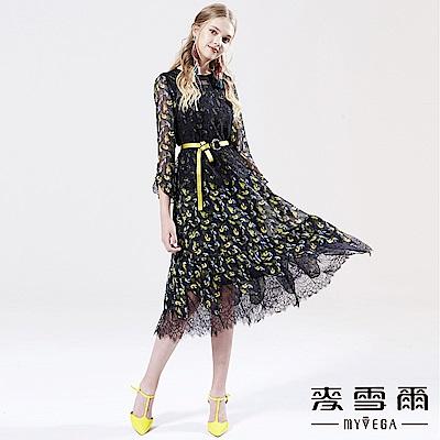 【麥雪爾】兩件式蕾絲拼接小魚尾長洋裝