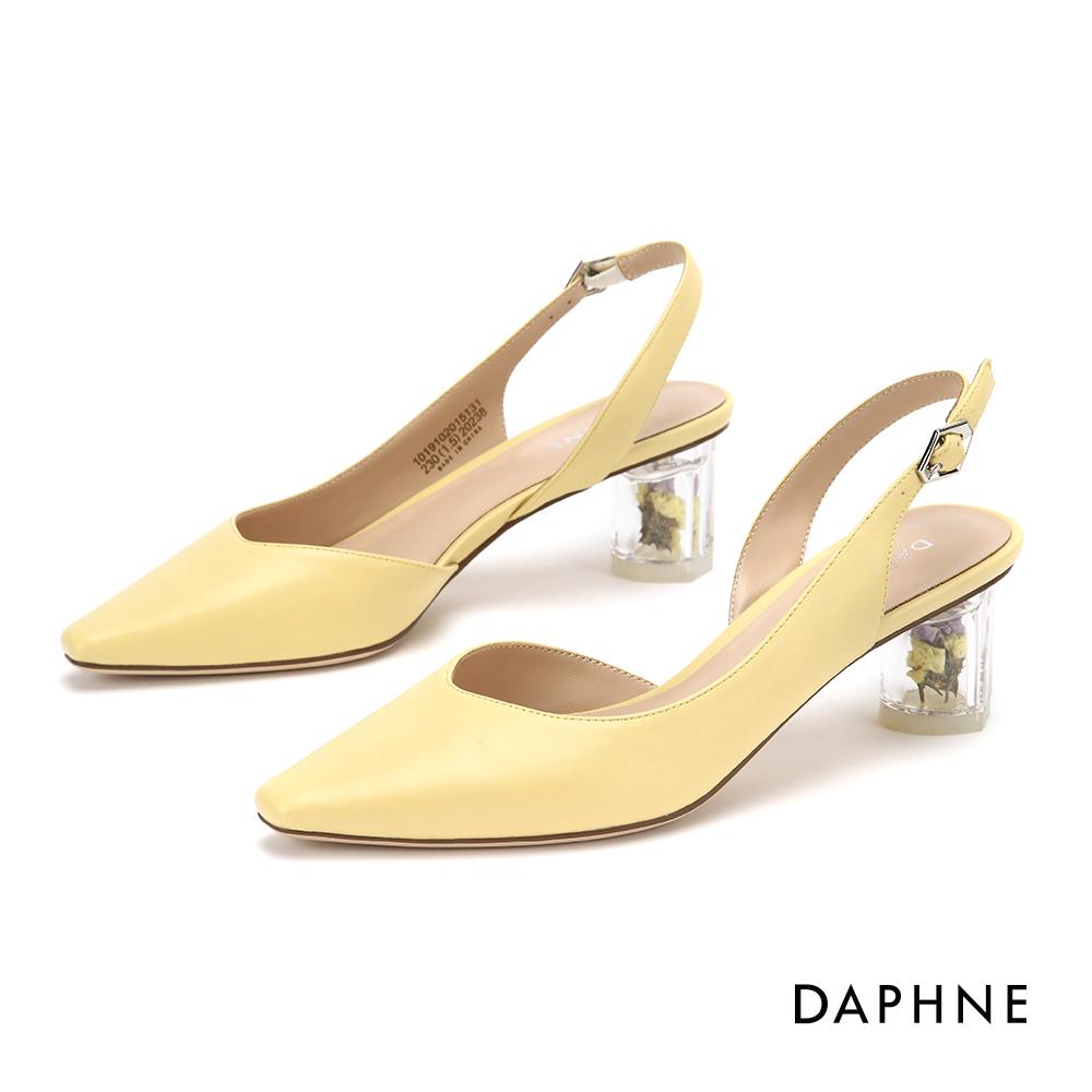 達芙妮 高跟鞋-春氛花漾縷空尖頭粗跟鞋- 黃