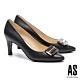 高跟鞋 AS 都市時尚金屬帶釦羊皮尖頭高跟鞋-黑 product thumbnail 1