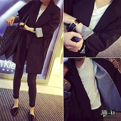 Jilli-ko 中長款雙排扣休閒西裝外套-黑