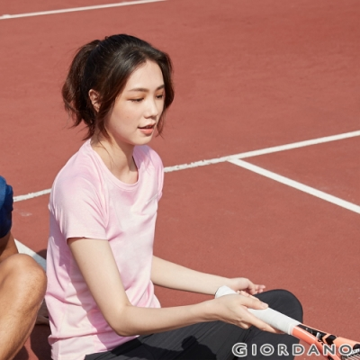 GIORDANO 女裝運動系列吸濕排汗拼接款短袖T恤- 04 花紗粉紅