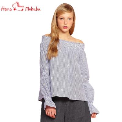 Hana-Mokuba-花木馬日系女裝甜美條紋上衣_藍條紋