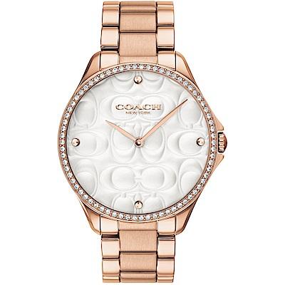 COACH 雙C浮雕 閃耀晶鑽女錶(14503068)-玫瑰金/38mm