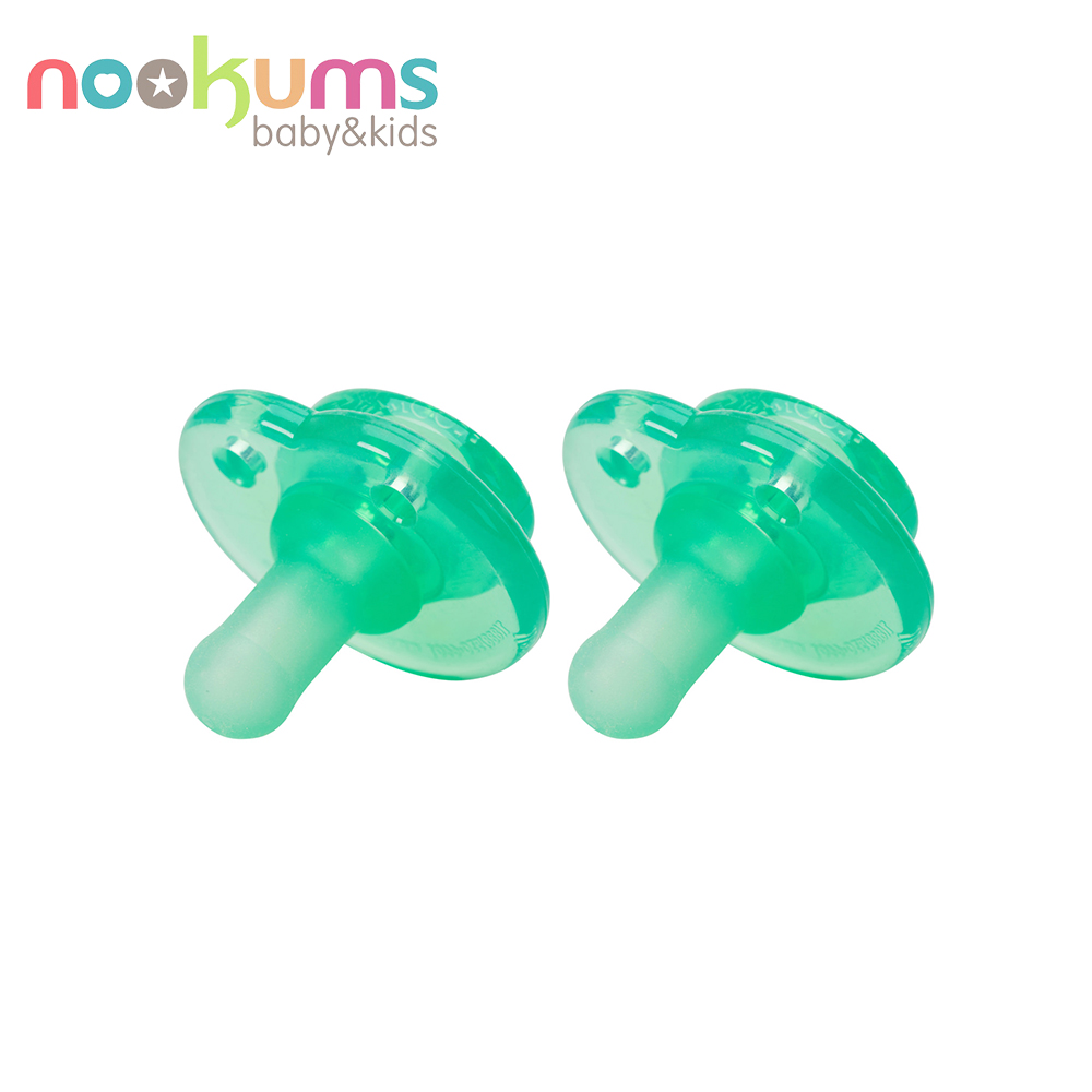 美國 nookums 仿母乳實感型矽膠奶嘴(2入組)-綠色