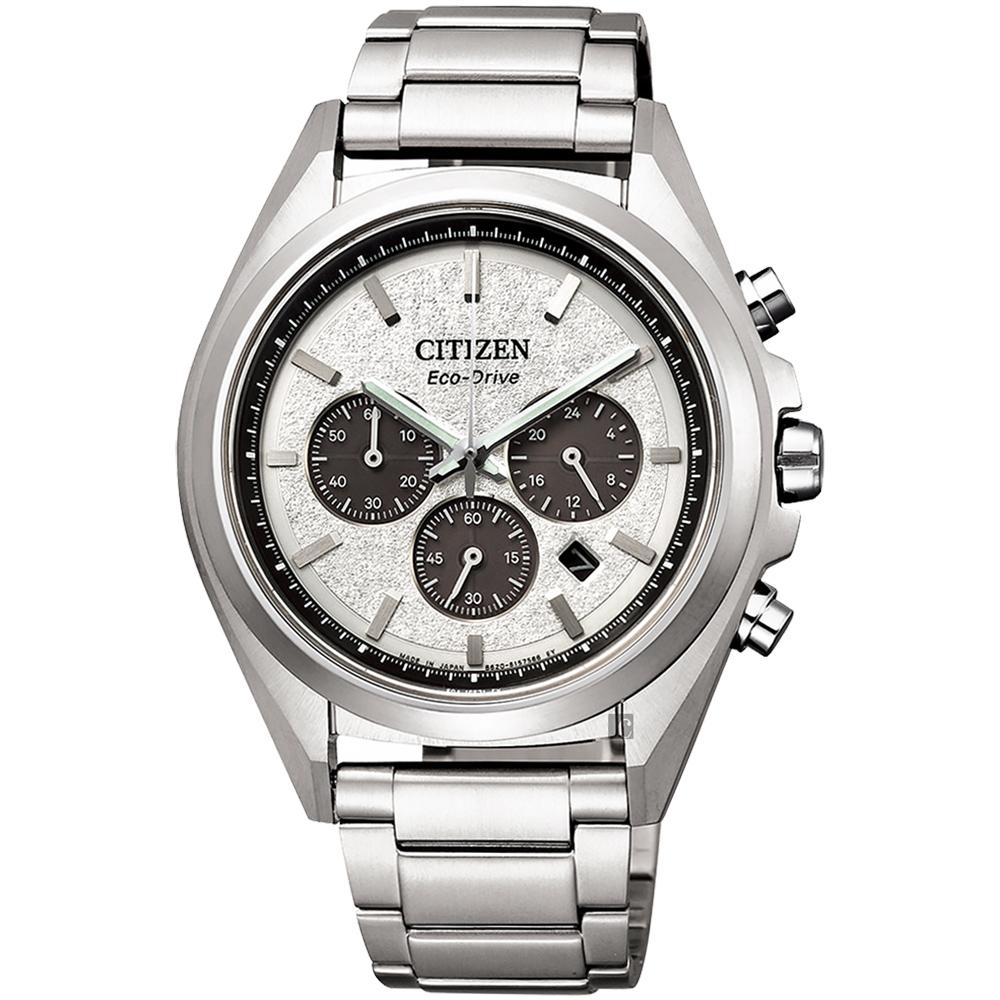 CITIZEN 星辰 光動能鈦金屬計時手錶-銀/41mm(CA4390-55A)