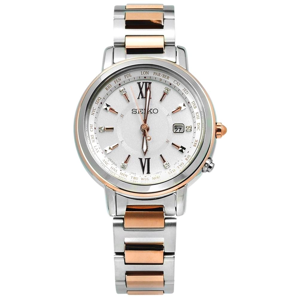 SEIKO 精工 LUKIA 太陽能 電波 藍寶石 鈦金屬 手錶-銀白x鍍玫瑰金/30mm