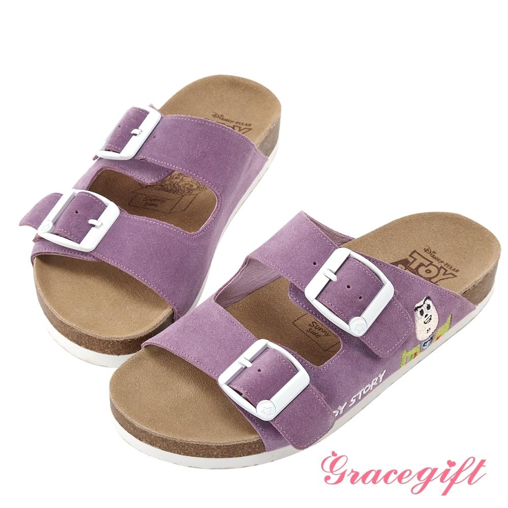 Disney collection by gracegift雙帶飾釦平底涼鞋 紫
