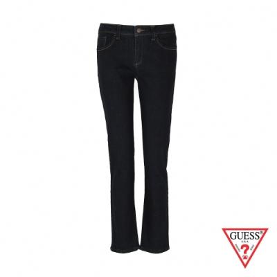 GUESS-女裝-經典純色刷毛直筒牛仔褲-藍 原價3990