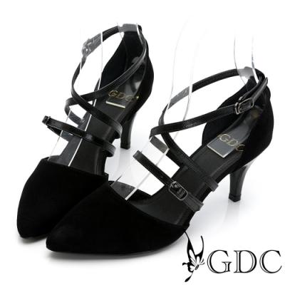 GDC-歐美魅惑真皮交叉羅馬素色百搭尖頭中跟涼鞋-黑色