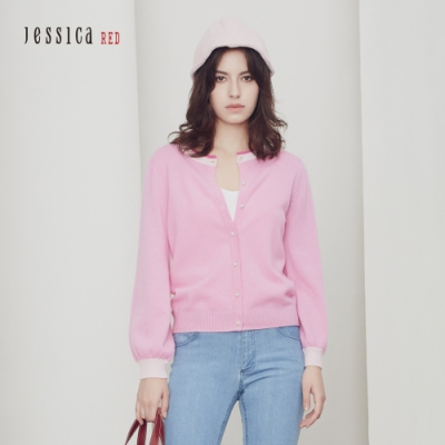JESSICA RED- 羊絨混紡百搭圓領針織外套(桃粉)